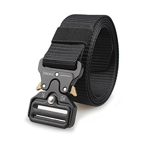 FENGROU Heavy Duty Webbing Belt,Quickly Open Adjustable Military Style Nylon Belts for Man and Women (Black)
