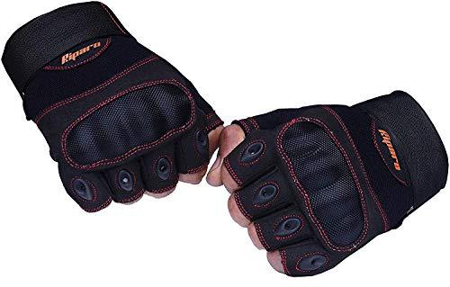 Riparo Women's Tactical Full Finger Fingerless Touchscreen Military Shooting Hunting Rubber Protective Outdoor Gloves (7.5, Black/Red Fingerless)