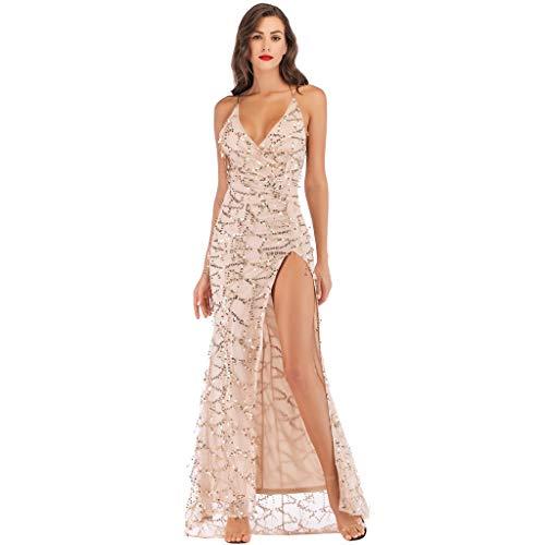 Vestito da donna, per feste, matrimonio, elegante, lungo abito da sera, a maniche lunghe, con nappe e paillettes D-beige. S