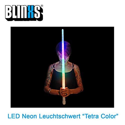 BLINXS LED Leuchtschwert / Lichtschwert / Laserschwert Tetra Color in Neonfarben Leuchtend mit Farbwechsel- und Blinkfunktion - ideal für Kinder, Fasching oder Karneval - inklusive Batterien