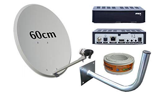 Kit Antena PARABOLICA 60CM TECATEL + Receptor SATELITE APEBOX S2