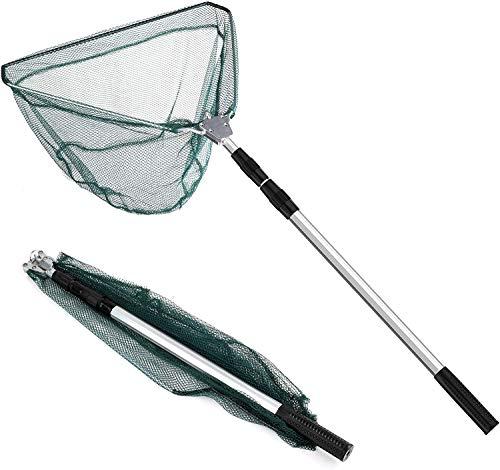 Catalpa Blume 2,1 M Kescher Fischkescher Kescher Angeln Teleskop-Kescher Alu Angelkescher mit Faltbare Fischernetz Unterfangkescher für Erwachsene und Kinder