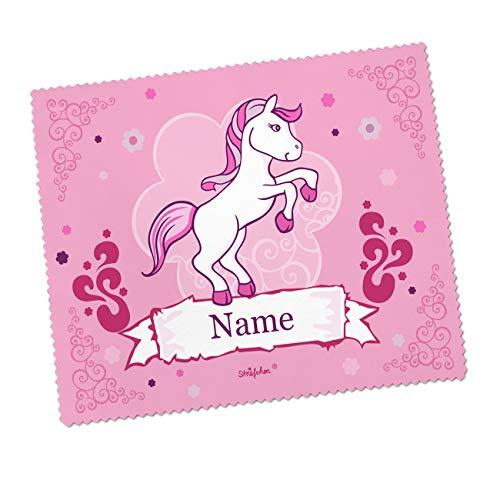 Striefchen® Brillenputztuch für Kinder mit Wunschnamen - schöne kindliche Motive Pink Pony