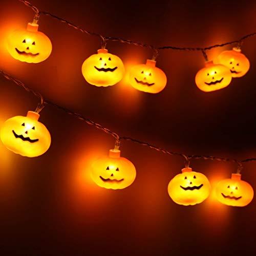 lpf Halloween Fantastic Talking Animated Pumpkin Built-in Projector Speaker 3-in-1 Lantern Pumpkin Decorations LED String-Lights # (Color : 5m String Lights)