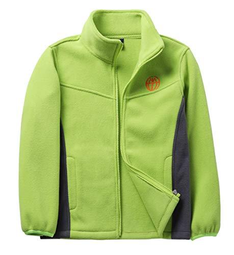 CAMLAKEE Kinder Fleecejacke Jungen Mädchen Outdoor Fleece Jacke mit Reißverschluss Übergangsjacke Herbst Winter Grün XXXL: 152-158(11-12 Jahre)