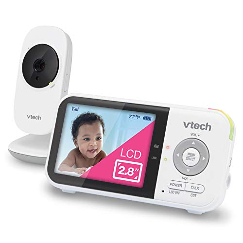 """VTech VM819 Video Baby Monitor with 19Hour Battery Life 1000ft Long Range Auto Night Vision 2.8"""" Screen 2Way Audio Talk Temperature Sensor Power Saving Mode and Lullabies, White"""