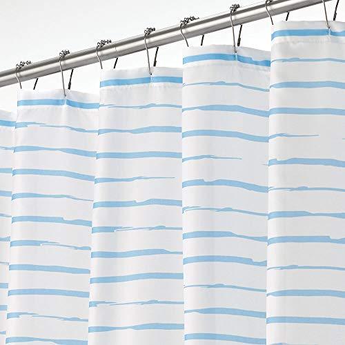mDesign Luxus Duschvorhang – wasserabweisender Badewannenvorhang mit modernem Streifenmuster – pflegeleichter Duschvorhang – weiß und hellblau
