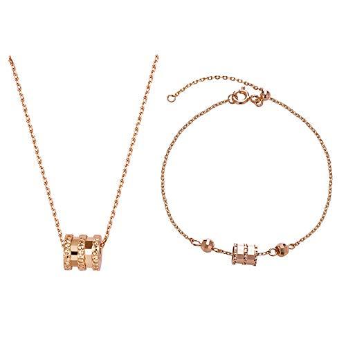 Collar De Cintura Pequeña Hembra 925 Pura Cadena De Clavícula De Plata Nicho Diseño De Marca Cintura pequeña de oro rosa (con diamantes):