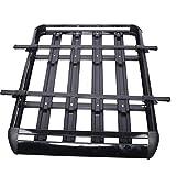 Portaequipajes grande Kaibrite para el techo del coche, color negro, 130 x 101 cm, aluminio, carga máxima de 68 kg