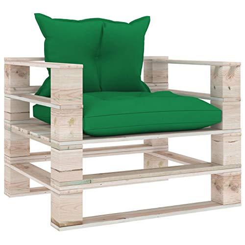 Tidyard Sofá de palets para jardín con Cojines Cojin Palés Tino Lounge - Cojin De Asiento O Respaldo para Sofás Palets Verdes Madera de Pino