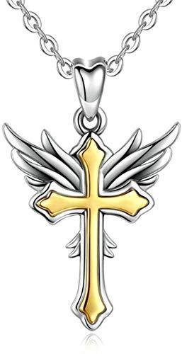 DUEJJH Co.,ltd Halskette 925 Silber Golden Angel Wings & Kreuz Anhänger Halskette Silber Link Kette Mode Frauen Feiner Amulett Schmuck