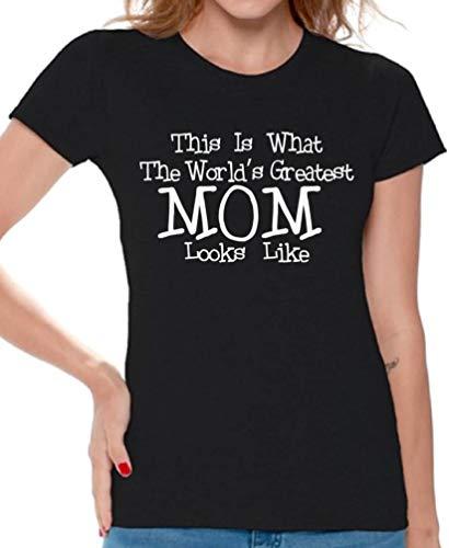 Awkwardstyles Women's World's Greatest Mom T-Shirt Mommy Shirt + Bookmark L Black