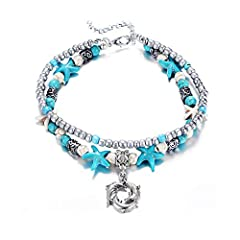 """♥ Handmade Starfish Anklets Material: Shell+ Alloy + Turquoise, Anklets Length(Girth): 9""""+2""""extension chain.Adjustable Chain, Convenient Design, Easier to Fit Most of People. ♥ Packing with an elegant blue bag!Let Your Ankle Shine Across The Ocean Wi..."""