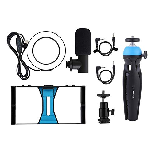 AOIWE Vlog Set Professional Kit LED LED Light + Micrófono + Soporte de teléfono de trípode para teléfonos/Cámara para Maquillaje Vlog Photography (Color : Blue)