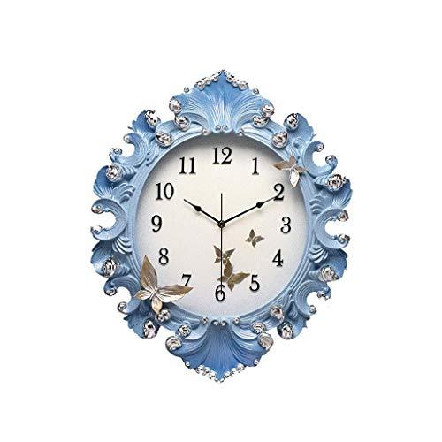 SMEJS Reloj de Pared Pintada Resina, Estilo Europeo Retro Reloj del v tictac Whisper Quiet batería no Elegante Tradicional
