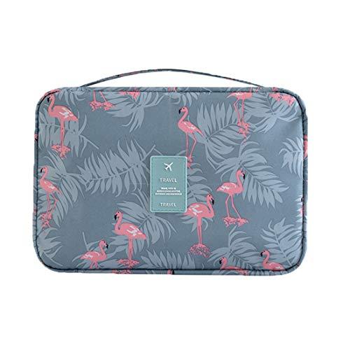 Kulturtasche Frauen Mädchen zum Aufhängen Kulturbeutel mit Tragegriff Duschbeutel für Damen Waschbeutel für Pflegeprodukte Makeup zur Reisen Urlaub Outdoor Camping (Flamingo-Grau)