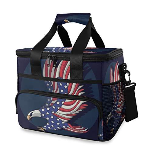 Draagbare koelbox schouderriem organisator picknick Amerikaanse vlag glatze lunch tas Ice Pack