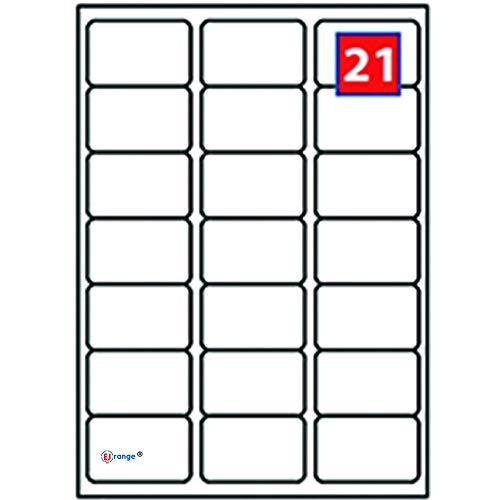 EJRange 21 etiquetas por hoja A4, 100 hojas - 2100 etiquetas en total, etiquetas autoadhesivas de dirección compatibles con impresoras de inyección de tinta y láser - Etiquetas adhesivas imprimibles