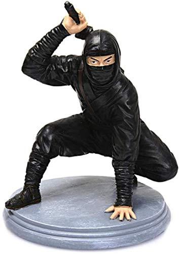Sculpture Statues Statuette Figurine Artwork Ornament Vintage Japanese Ninja Warrior Ancient Characters Model Decor Assassin Man in Black Figurine Home Art Desktop Decoration Gifts