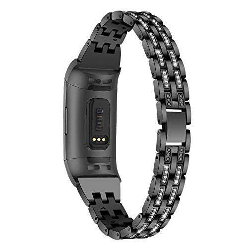 TenCloud Ersatz-Armband, kompatibel mit Fitbit Charge 4/Charge 3, Metall-Armband, Bling Bling Strass Armbänder für Damen Armband für Charge 4/Charge 3 Fitness-Tracker