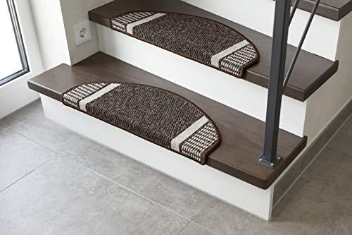 andiamo Stufenmatte Runner Set für Treppenstufen Treppenmatte halbrund 15-Stück, braun, 28x65 cm