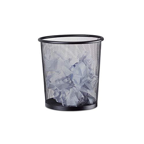 Relaxdays Papierkorb Metall, Abfalleimer aus Metallgeflecht, offener Mülleimer Mesh, rund, 23 cm Ø, 24 cm hoch, schwarz