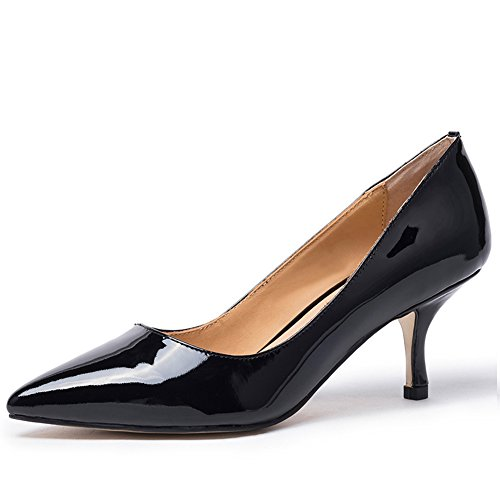 Darco & Gianni Damen wies Zehe Klassische Kitten Heels Slip On Lackleder Schuhe Hochzeit Büro Party Pumps, Schwarz Patent, 40 EU
