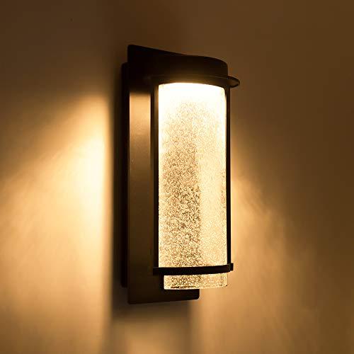 LUTEC Aquarius LED Wall Light with Seeded Glass, 10 Watt 600 Lumen Modren Porch Light, Indoor Outdoor Sconce Wall Lighting