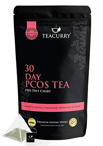TEACURRY – 30 Day PCOS Tea with Free Diet Chart | 20 Pyramid PCOS Tea Bags | Cures Acne, Facial Hair, Hair Loss, Hormone Balance | PCOS PCOD Tea | Spearmint Tea for PCOS (20 Pyramid Teabags | 40 Cups)