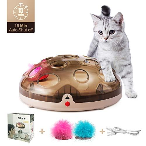 Nice Dream Katzen Federspielzeug, Intelligenzspielzeug Interaktives Spielzeug für Katzen Amusement Jagen, Elektrische Katzenspielzeuge Wiederaufladbar volle Maglev Drehscheibe mit USB-Aufladung