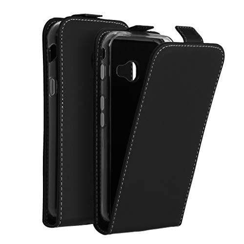 Accezz kompatibel mit Samsung Galaxy Xcover 4/4S Hülle – Flip Hülle Tasche – Handytasche zum Aufklappen in Schwarz [1 Kartenfach, Magnetverschluss, Premium Kunstleder]