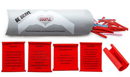- Be Brave Couple 50 Lose für Paare | Abwechslungsreich, spielerisch und mit viel ❤ | Partnergeschenk zum Valentinstag, Jahrestag, Hochzeitstag | Perfekt zum Verschenken bei Hochzeiten