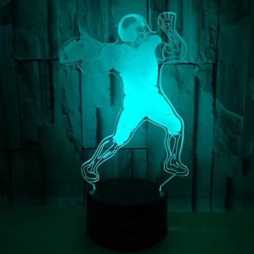 BICCQ Lámparas de mesa Jugando Al Rugby Lámpara Colorido Gradiente 3D Estereoscópica Táctil Remota Noche USB Luz De Noche Creative Holiday Regalos De Cumpleaños Atletas Decorativo Del Escritorio Del L