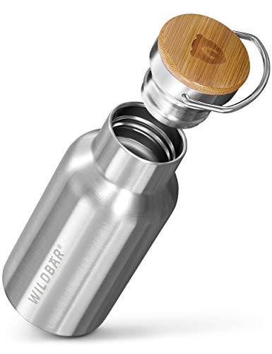 WILDBÄR® - Premium Thermosflasche Edelstahl [350 ml] doppelwandig u. auslaufsicher mit Bambus Deckel - Edelstahl Trinkflasche für Sport, Wandern u. Büro - BPA freie Trinkflasche Edelstahl Kinder