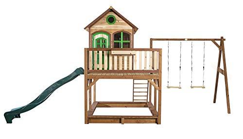 Beauty.Scouts Holzspielhaus Vinny mit Veranda + Rutsche + Leiter + Sandkasten + 2X Schaukel 277x613x291cm Holz in braun Kinderspielhaus Holzhaus Stelzenhaus