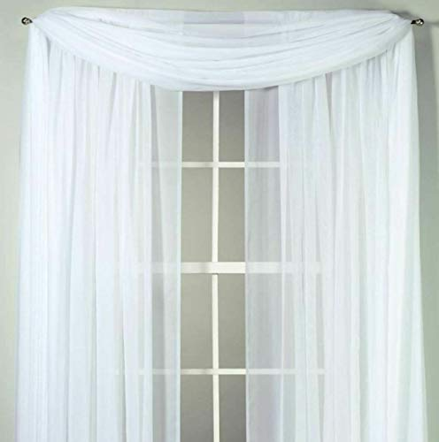 Bed Bath and Beyond Top Treatment, Sheer Voile Window Curtain Scarf in White