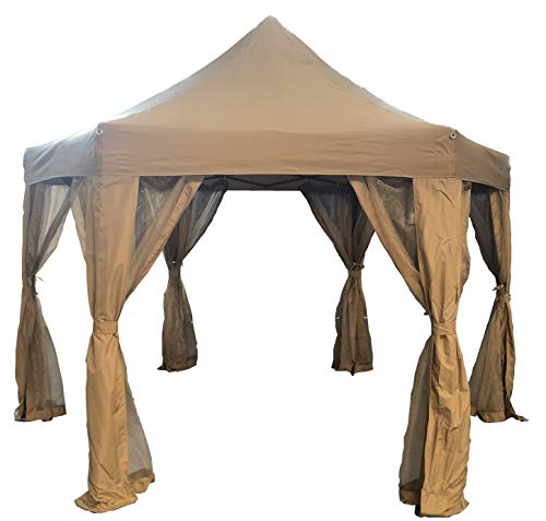 KEXMY Garden Classics HORWOOD GARDEN METAL FRAME POP UP FOLDING HEXAGONAL GAZEBO BEIGE FABRIC 3.6M X 3M WITH NET CURTAINS