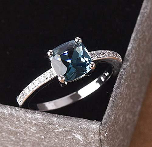 Cuteshop 14k White Gold Plated Sterling Silver Peacock Blue Topaz Square Diamond Ring Gemstone Ring Aquamarine Gemstone Wedding Bridal Band Ring for Women (7)