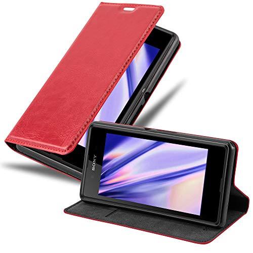 Cadorabo Hülle für Sony Xperia E3 in Apfel ROT - Handyhülle mit Magnetverschluss, Standfunktion & Kartenfach - Hülle Cover Schutzhülle Etui Tasche Book Klapp Style