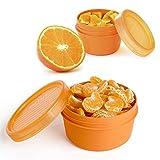 PracticFood - Pack de 2 Portafrutas de 0.5 y 0.2L BA-Free. Ideal Fruta o Papilla. Color Naranja