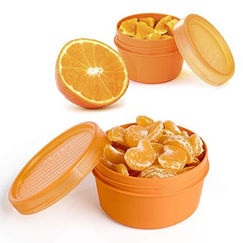 Set di 2 Contenitori Portafrutta in Plastica PP senza BPA da 0.5 e 0.2L. Perfetto per Frutta, Snacks o Porridge. Colore Arancione