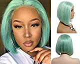 """Human Hair Short Bob Wig Mint Green Straight Lace Front Wig Pre Plucked Hairline with Baby Hair 12"""" Glueless 13x4 Swiss Lace Brazilian Remy Bob Haircut Middle Part 180% Density for Black Women"""