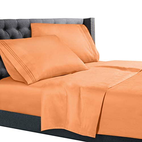 Nestl Bedding 4 Piece Sheet Set - 1800 Deep Pocket Bed Sheet Set - Hotel Luxury Double Brushed Microfiber Sheets - Deep Pocket Fitted Sheet, Flat Sheet, Pillow Cases, King - Light Orange