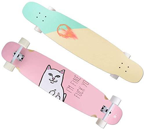 Rindasr 46-Zoll-Longboard Skateboard, 7-Schicht-Ahornholz OS780 Anti-Skid Schmirgelpapier doppelseitiges Muster, Anfänger Männer und Frauen Doppelwippe (Color : A)
