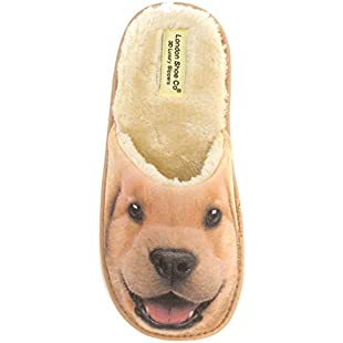 Ladies & Girls Puppy Dogs & Kitten Cats 3D Slippers Size 3 to 8 UK - NOVELTY XMAS CHRISTMAS GIFT SLIPPERS (7 to 8 UK - LARGE Ladies, Golden Retriever Puppy)