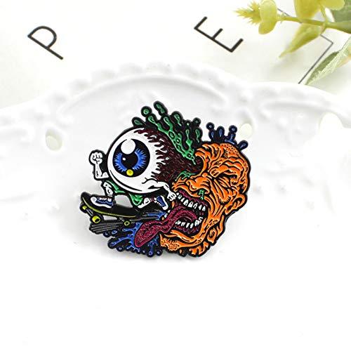 FSAKLFS Auge Skate Pin Devil's Eye Verschüttet Farbe Magma Lange Zunge Skateboard Brosche Augmented Reality Kunst Pin Kreative Persönlichkeit Abzeichen