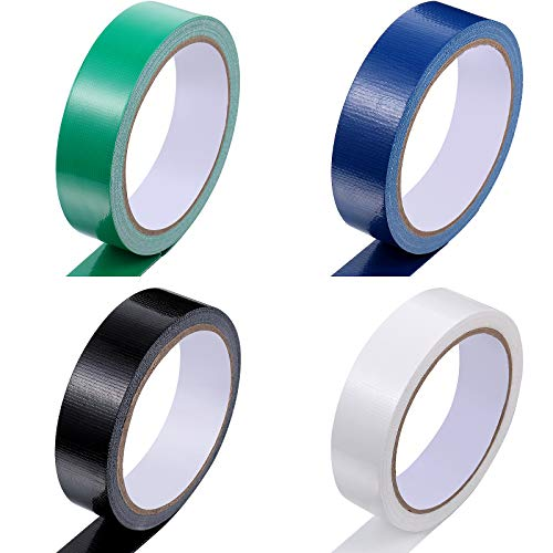 4 Rolls Gaffer Tape Waterproof Duct Tape Heavy Duty Gaffer Tape Matte Duct Cloth Tape Carpet Tape for DIY Crafts, Indoor Outdoor Use, 1 Inch x 11 Yards (Black, White, Dark Blue, Dark Green)