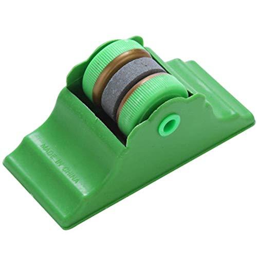 QXM Mini affilacoltelli da Cucina in Pietra Abrader con Due rotelle per affilare, Verde, L