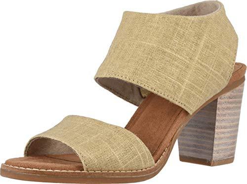 TOMS Women's Majorca Cut-Out Sandal Champagne Metallic Foil Textile 8 M