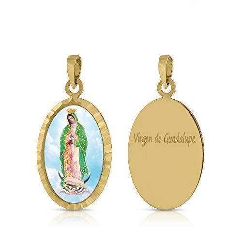 ROSA DI MANUEL Medalla Virgen comunión en Oro 18 k,para Mujer, niña Unisex. Medida 12 x 18 milímetros. Elija la suya.Pilar, Rocio, etc, (V de Guadalupe)